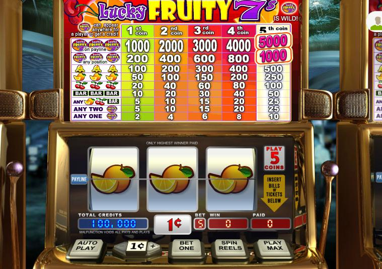Lucky Fruity 7s Video Slot