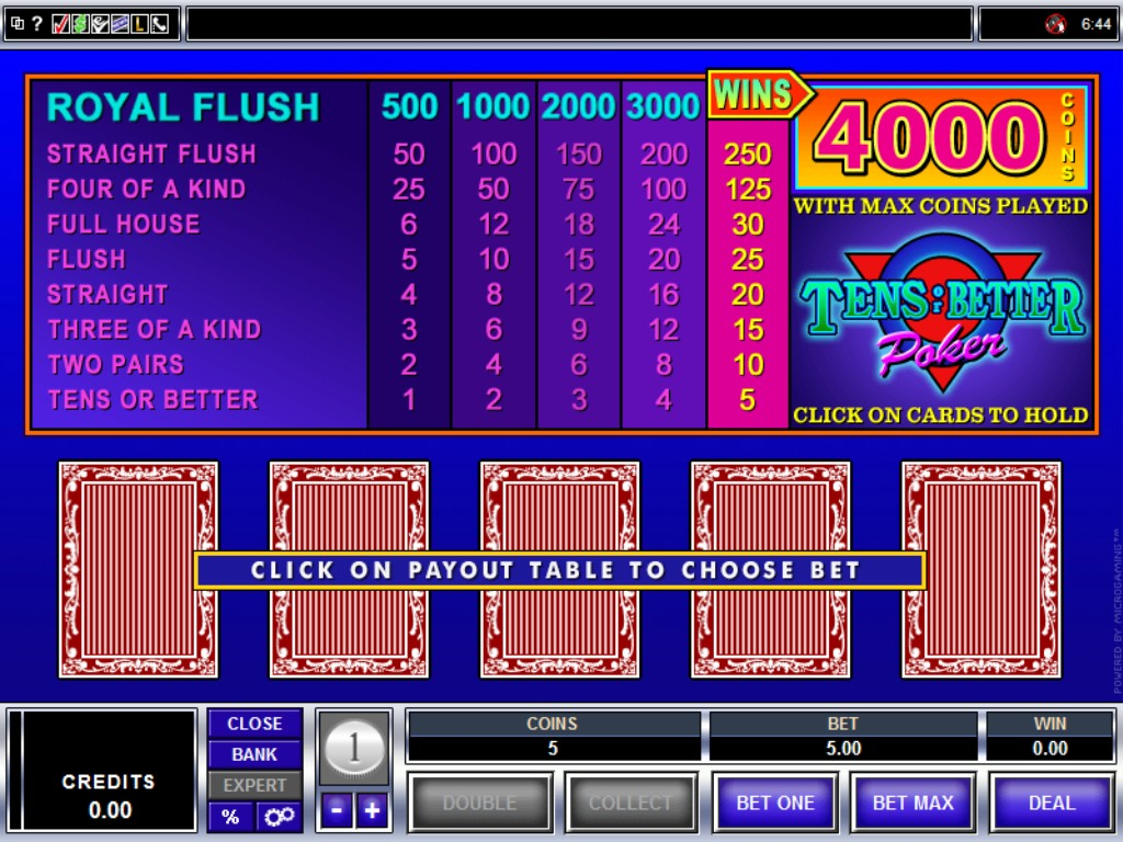 Tens or Better Video Slot