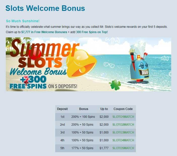 Sloto Cash Casino Bonuses